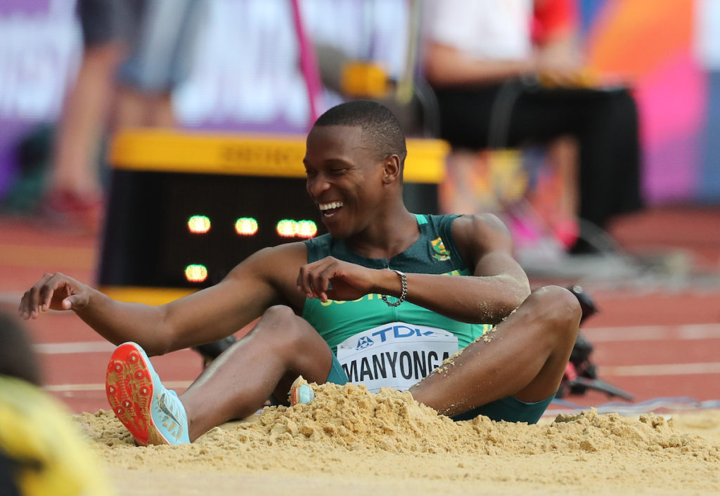 LONDON, ENGLAND - AUGUST 04: Luvu Manyonga of South Africa in the mens long jump qualification during day 1 of the 16th IAAF World Athletics Championships 2017 at The Stadium, Queen Elizabeth Olympic Park on August 04, 2017 in London, England. (Photo by Roger Sedres/ImageSA/Gallo Images)